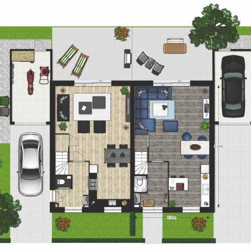 Bemeubelde plattegrond 2 onder 1 kap woning spijkernisse for Plattegrond woning