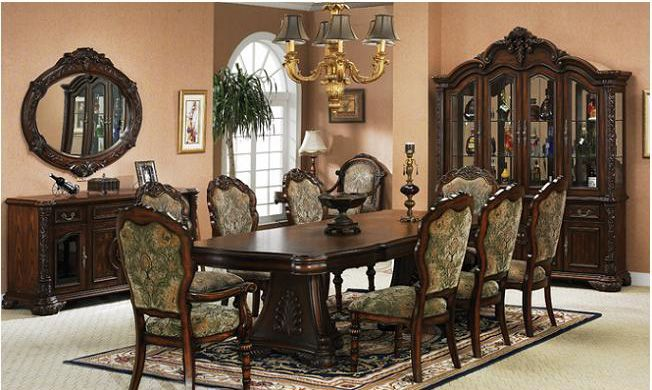 dark cherry dining 615 size from furniturevictorian.com.  Really like the looks of this set. Id need 2 additional leaves to seat 12. Would also upholster the chairs in some plum paisley pattern or something. My dining room will be in purples and rose tones :)