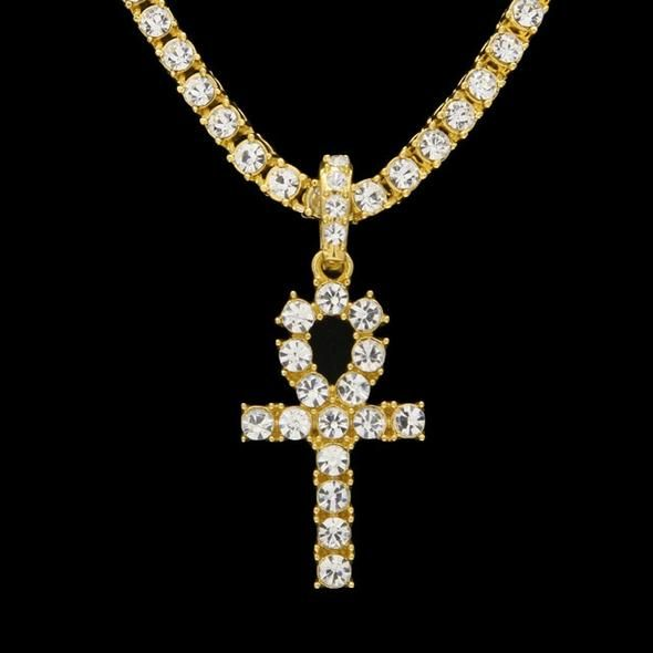 Gp Iced Out Cz Key Of Life Pendant Necklace Set In 2020 Ankh Necklace Egyptian Jewelry Gold