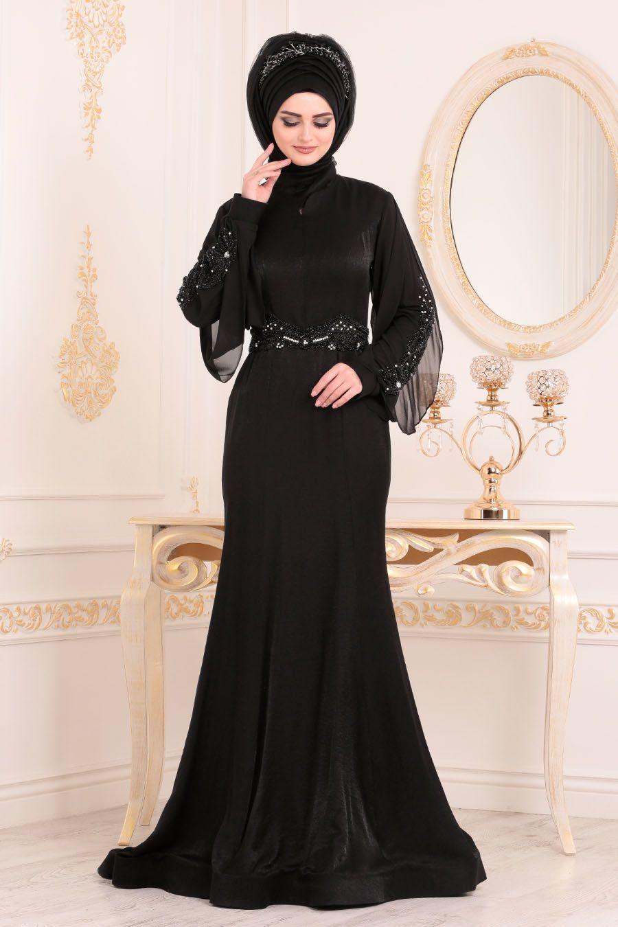 e873c4a6fb6d3 Tesettürlü Abiye Elbise - Kolları Boncuk Detaylı Siyah Tesettür Abiye Elbise  4575S