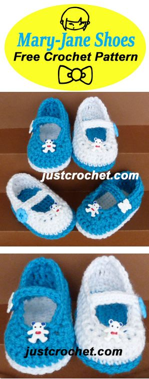 Cute Mary Jane Shoes, free baby crochet pattern to fit 3-6 months ...