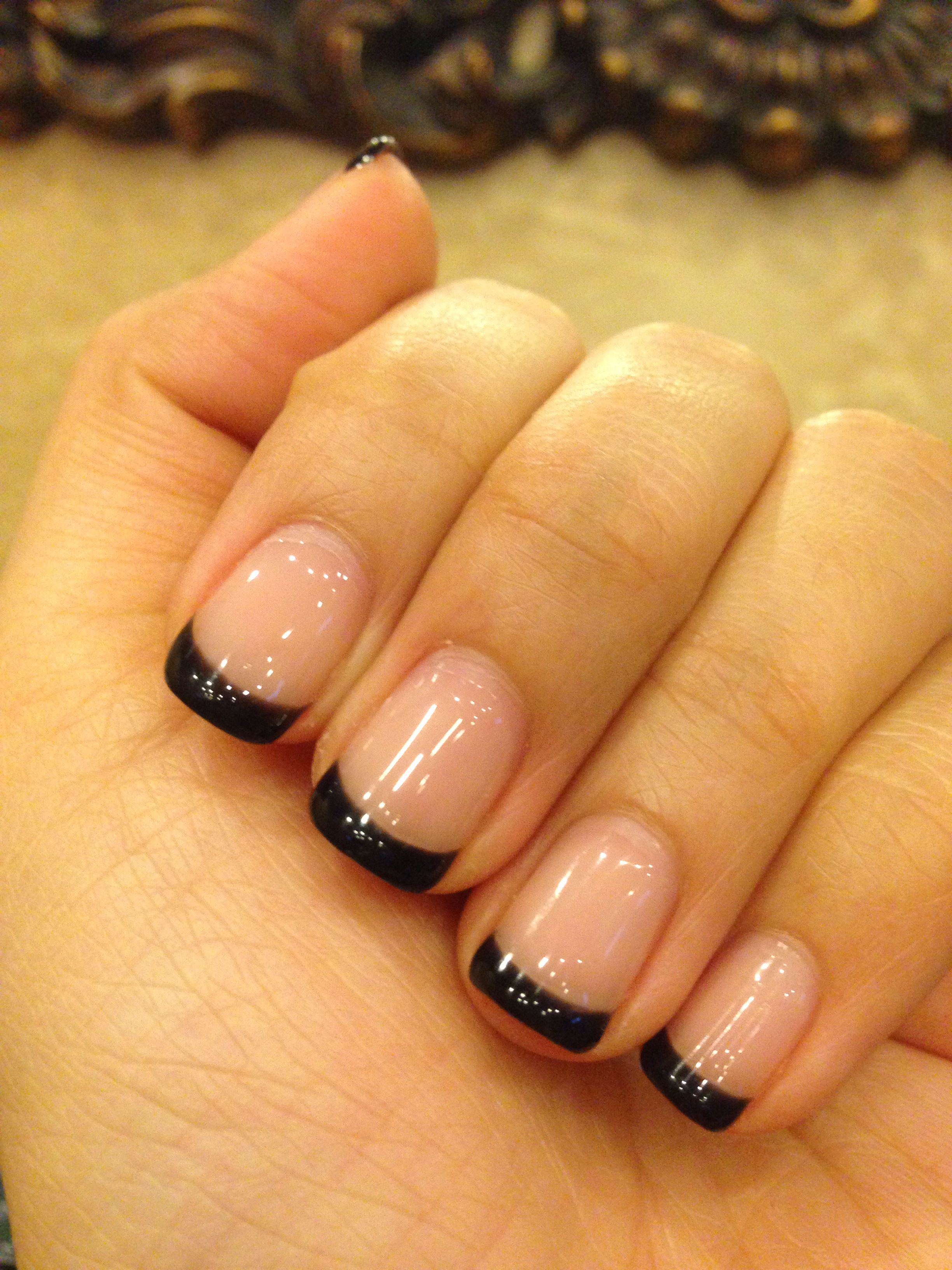 Black Gel Nails With One Silver Glitter Nail: Nude Base With Black French Gel Nails, A Great Transition