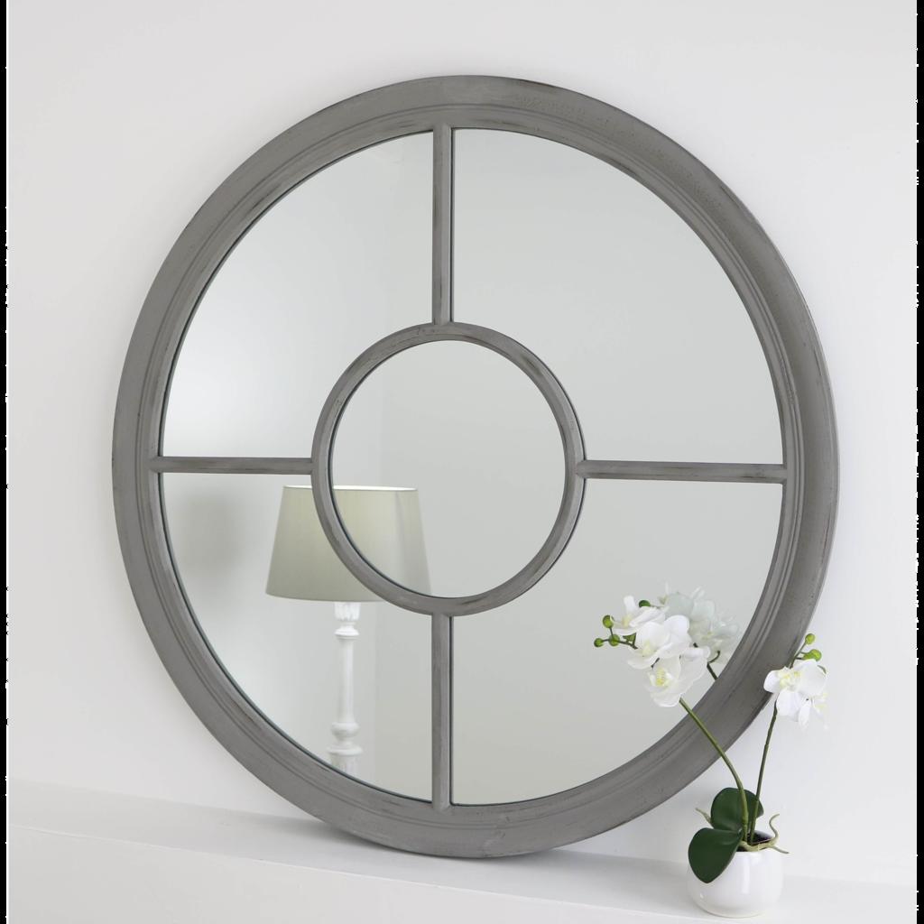 Rennes Vintage Grey Shabby Chic Round Window Mirror 28 X 28 69cm X 69cm Vintage Mirror Wall Mirror Wall Window Mirror