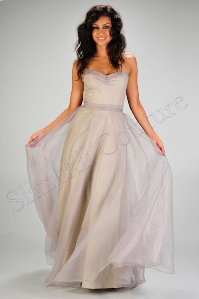 Rubber Ducky Taupe Gray Sweetheart Organza Strapless Evening Gown