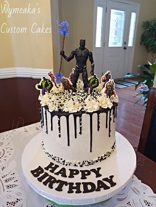 Black Panther Drip Cake By Wymeaka S Custom Cakes Birthday Drip Cake Avengers Birthday Cakes Drip Cakes