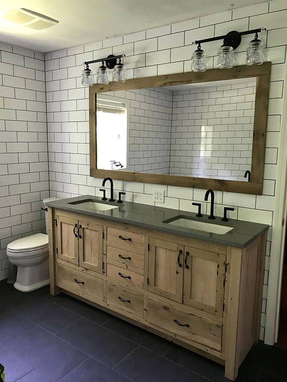 Rustic Bathroom Vanity (72″) – Dual Sink, Reclaimed Barn Wood w/Paneled Doors Raised Grain Removed (Unfinished) #4066