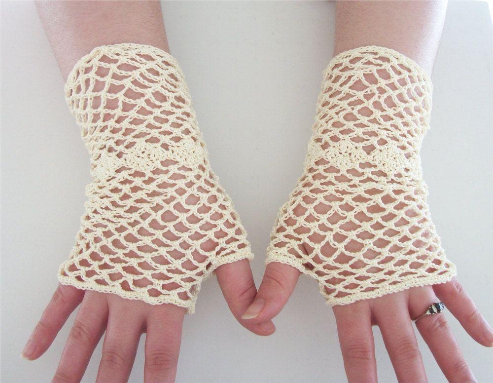 Ivory Bridal Gloves Lace Fingerless Gloves Wedding White Fishnet ...