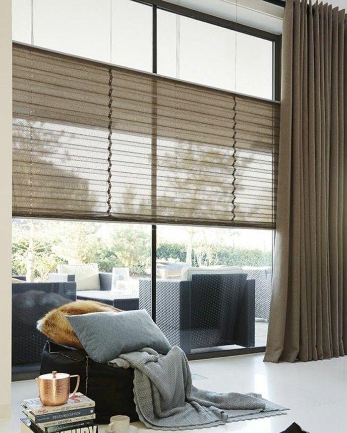 Plissees Wohnzimmer Braune Gardinen Weißer Boden