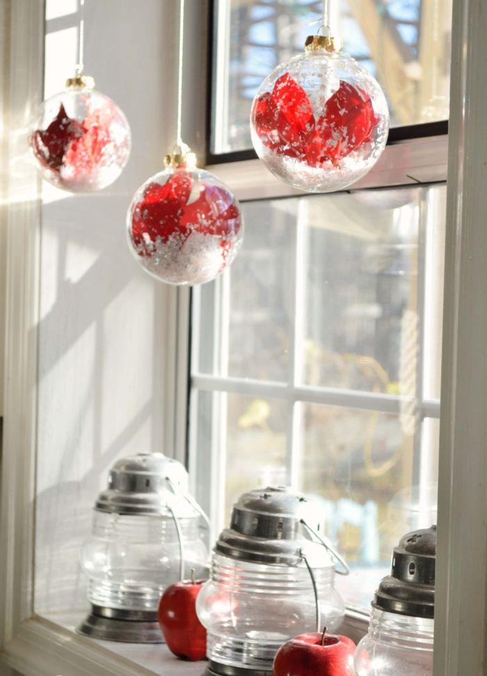 attraktiv Pinterest Weihnachtsdeko Fenster Part - 17: weihnachtsdeko fenster weihnachtskugeln glas rot windlichter