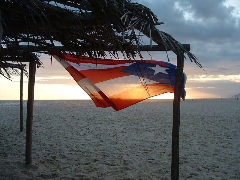 Puerto Rican Flag At The Beach