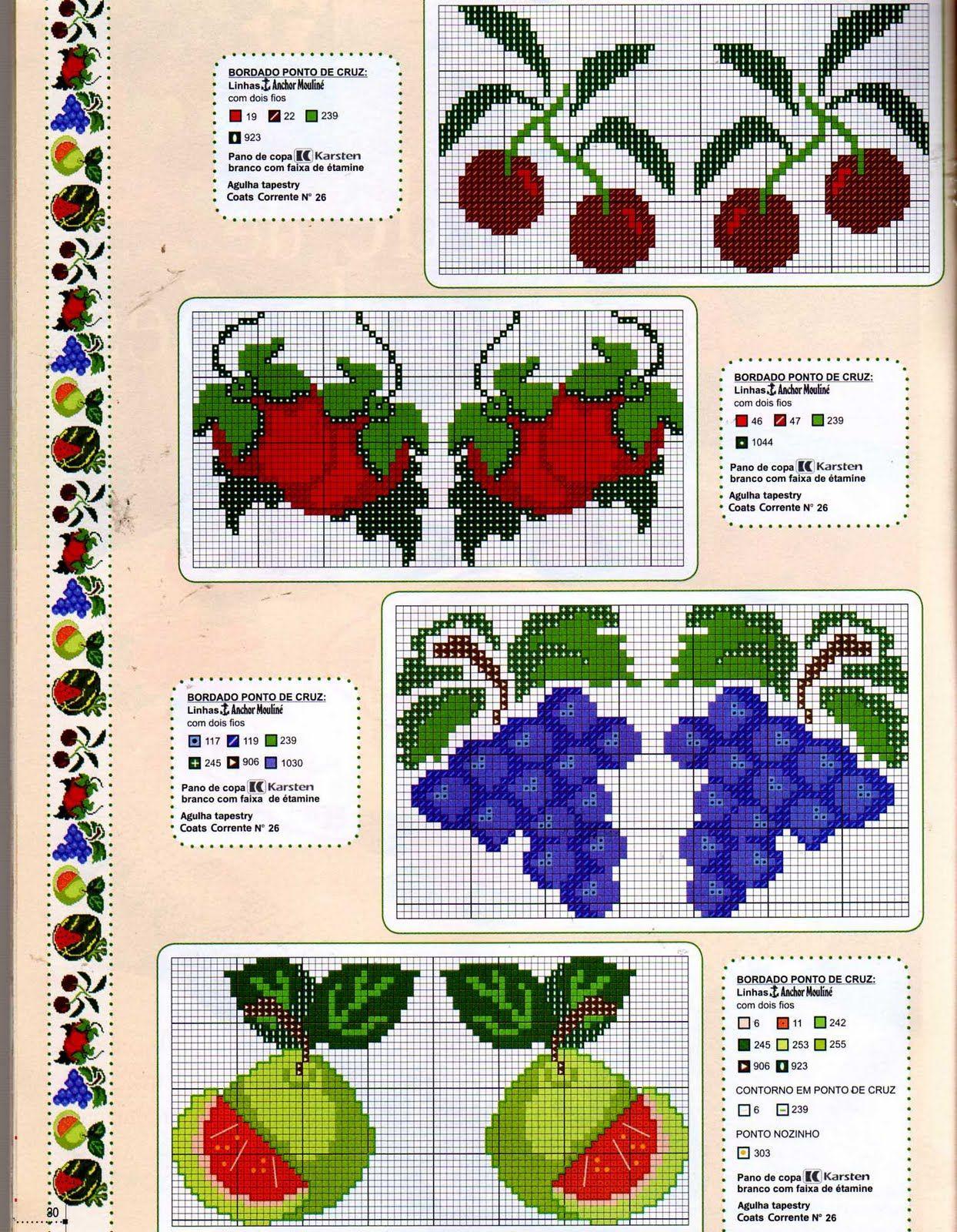 legumes e frutas em ponto cruz - Pesquisa Google | GRAFICOS PARA ...