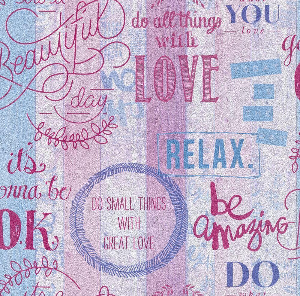 Tapete Papier Mädchen Love Relax Holz-Optik lila P+S 05590 ...