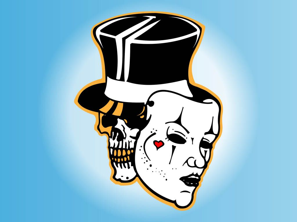 Skull Drama Face Tattoo: Drama Faces Clip Art