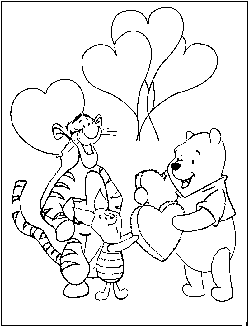 Pooh Valentine Coloring Pages to Print | Kids\' Projects Ideas ...