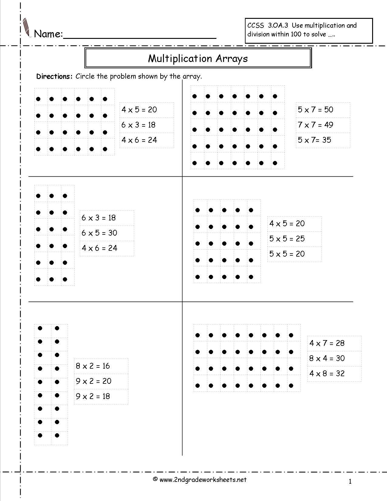 Distributive Property with Arrays Worksheet Arrays
