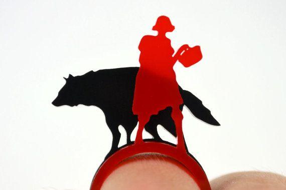 Altijd een zwak voor roodkapje Little Red Riding Hood Laser Cut Acrylic Ring Set