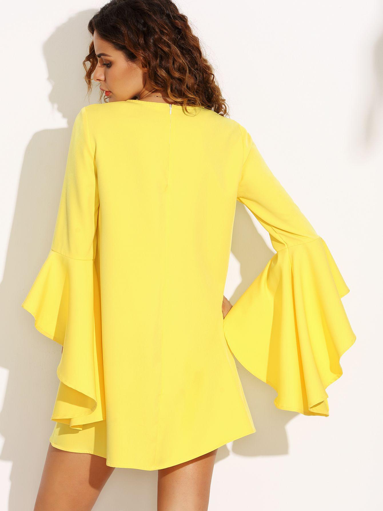c1da8e90a Vestido escote redondo manga con volantes holgado - amarillo-Spanish  SheIn(Sheinside)