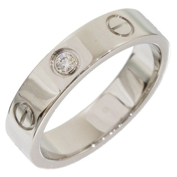 pre owned cartier 18k white gold 1p diamond mini love ring size 4 944 liked on polyvore featuring jewelry rings wedding band rings preowned wedding - Preowned Wedding Rings