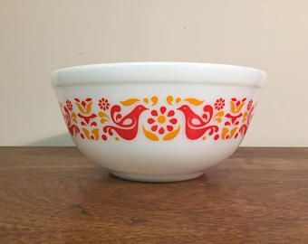 Pyrex Friendship Mixing Bowl #403, 2.5 qt. Red & Orange Birds and ...