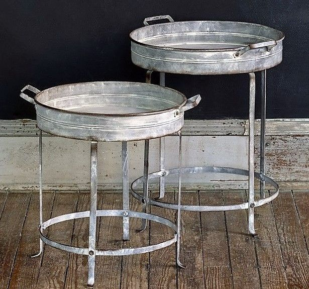 Galvanized Nesting Tray Tables, Set of Two  #nestingtables #galvanized #traytable #rusticindustrial #indooroutdoor  #farmhouse #glorygracehome #smallspaces #countryliving #frontporch
