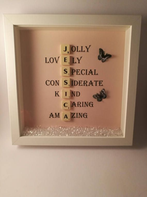 bcfb42e5c949 ... scrabble name frame. Scrabble letters. Butterfly embellishments.  Acrylic Diamonds. Frame size is 24cm X 24cm All items are hand made to order