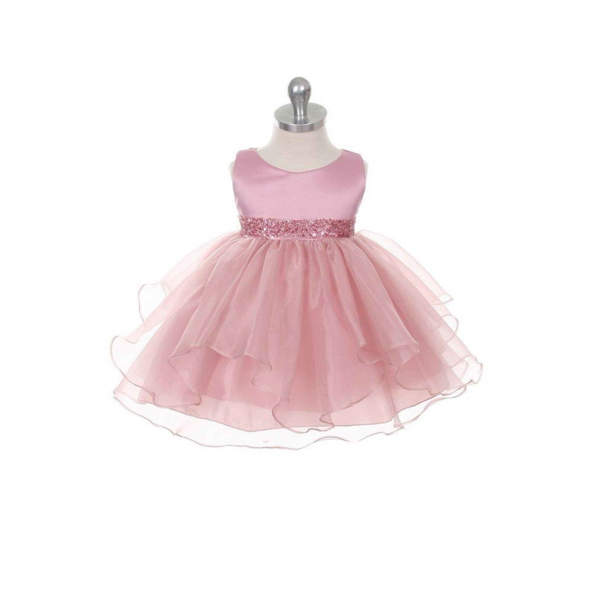 Chic Baby Rose Organza Sequin Special Occasion Dress Baby Girl 12M