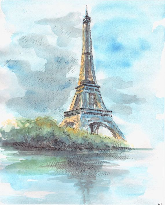Eiffel Tower Painting Eiffel Sketch Paris Painting Paris View