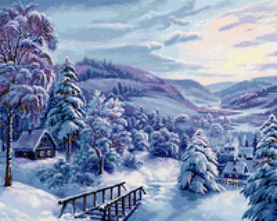 Зимний пейзаж в вышивке 47