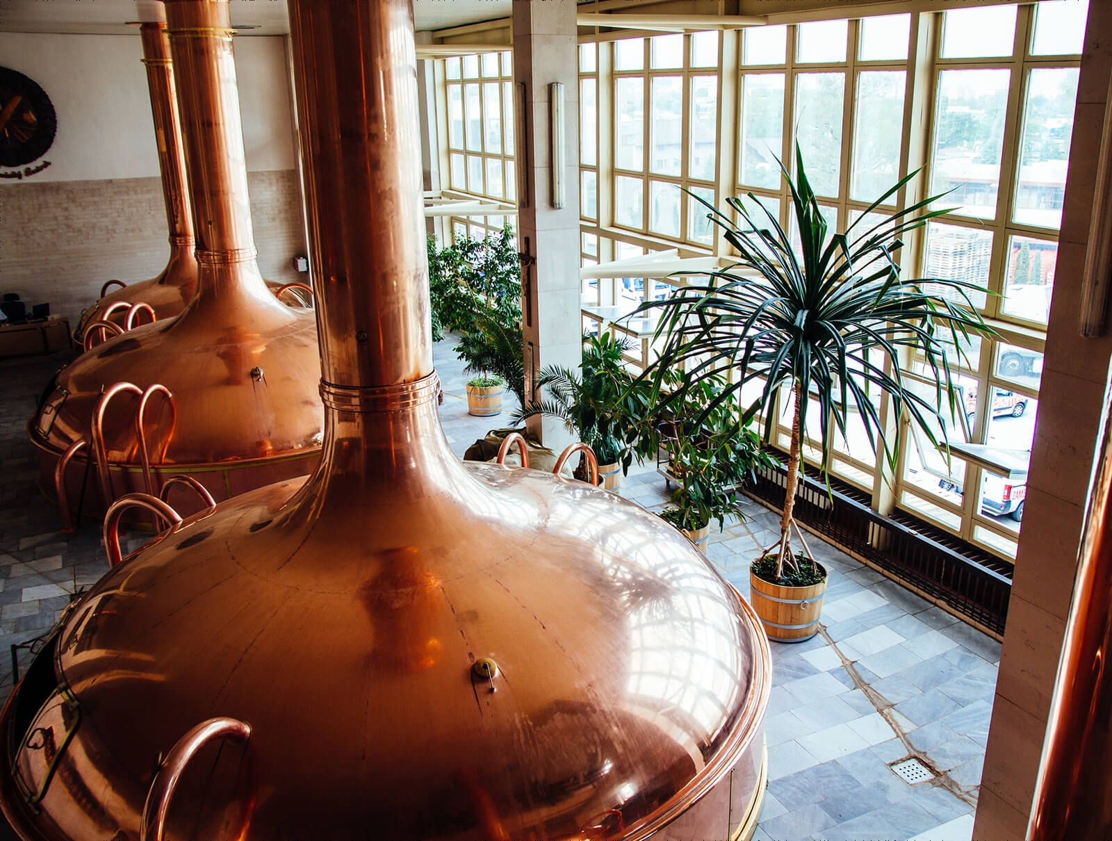 The brew kettles in the brewhouse - Budweiser Budvar brewery. #brewery #brewing #beer #czech #craftbeer #copper