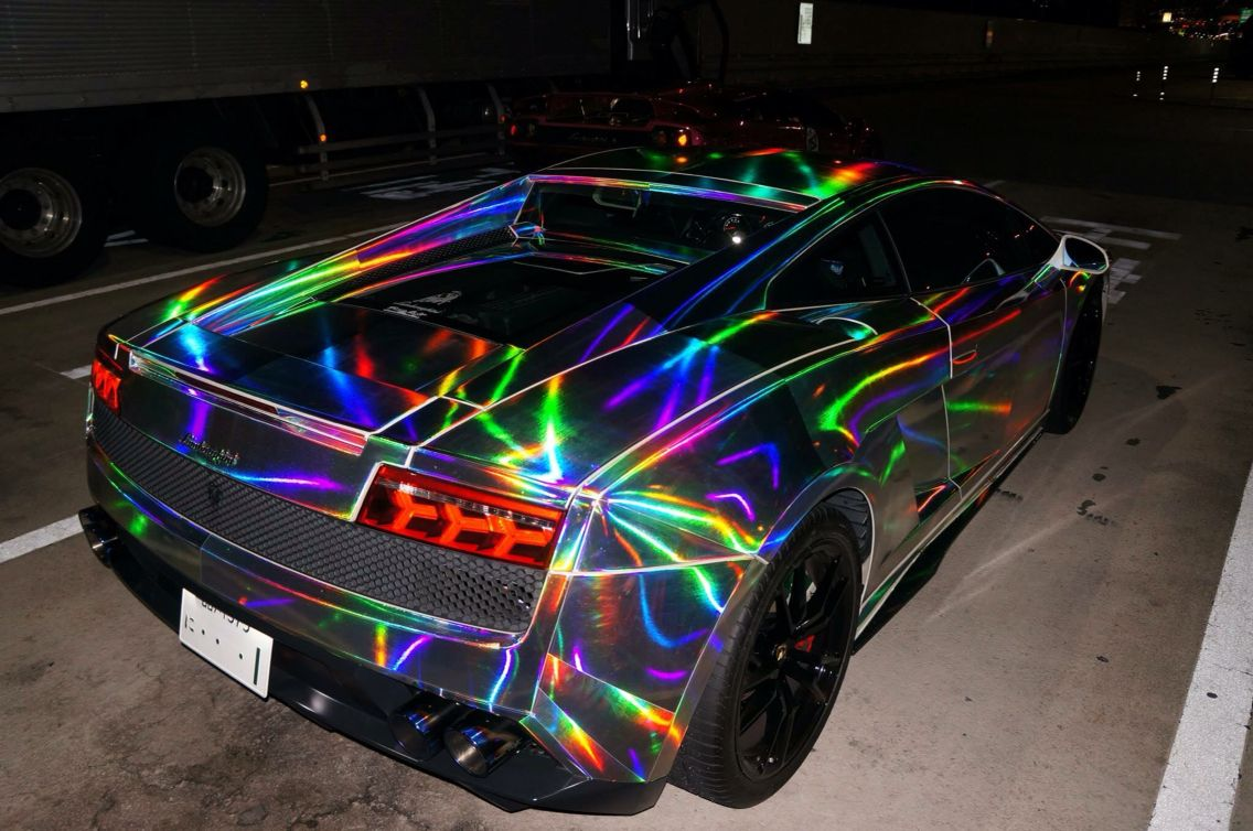 Lamborghini Gallardo Custom Wrap Chrome Rainbow Wrap Galaxy Wrap