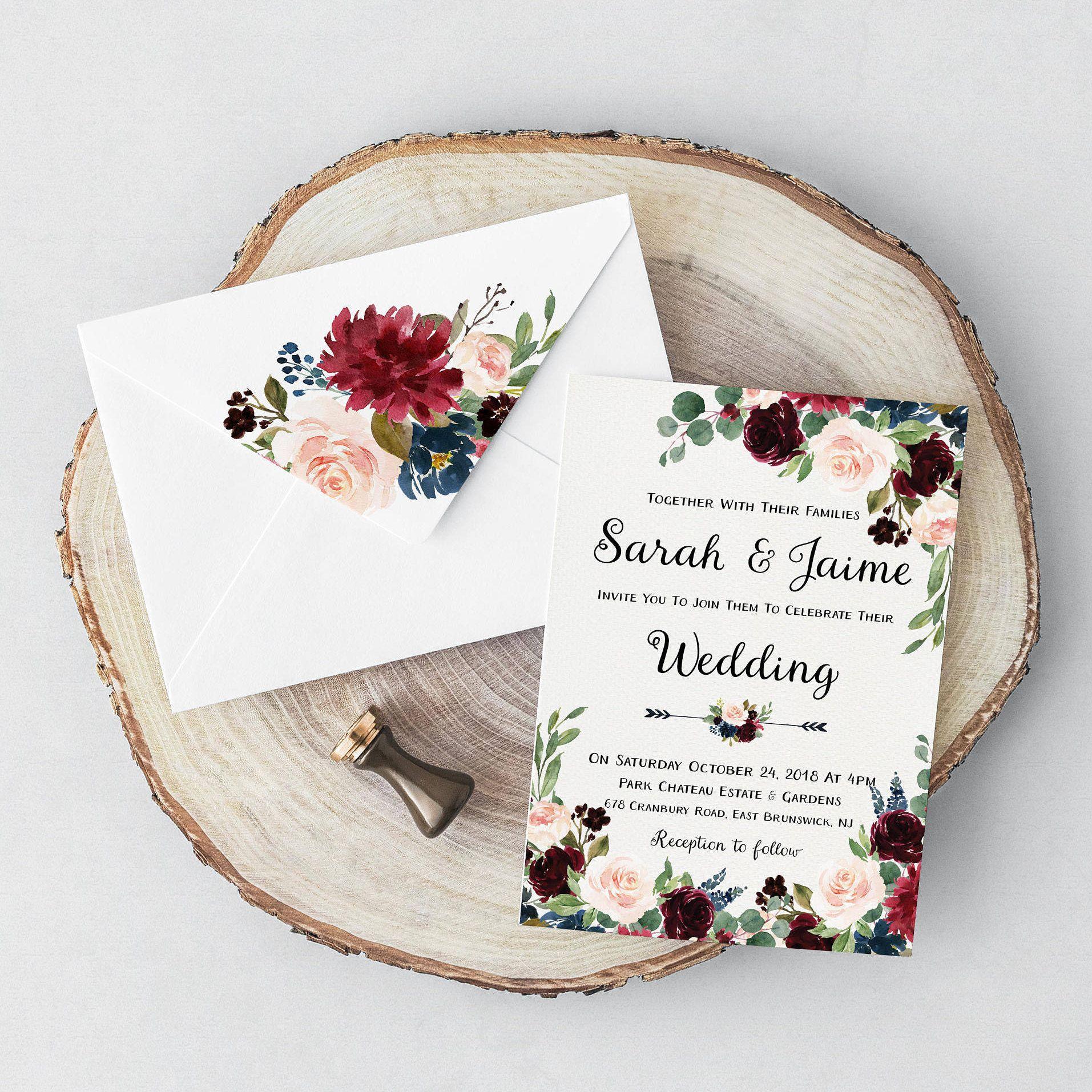 Burgundy and Navy wedding invitations - Printable Wedding invites ...