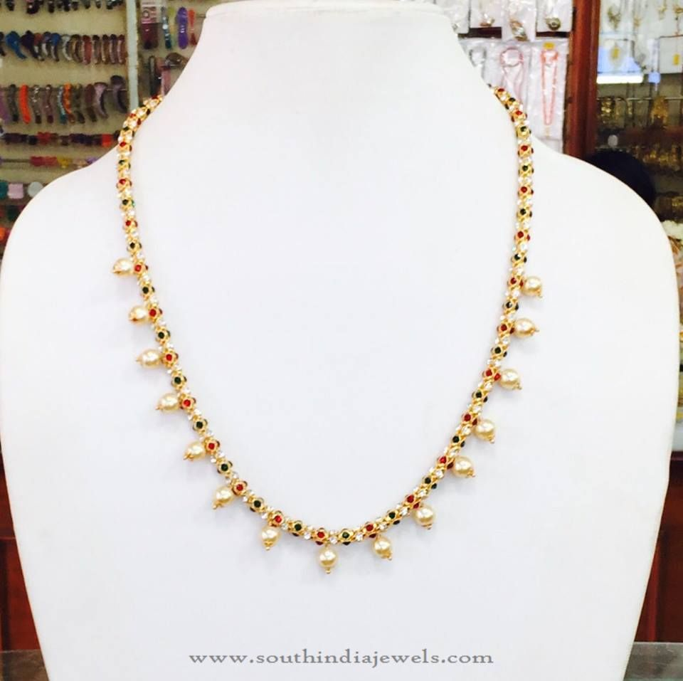 22 carat gold floral designer pendant with multiple beads chain and - Gold Plated Pearl Mala Designs Imitation Pearl Mala Designs Artificial Pearl Necklace Designs