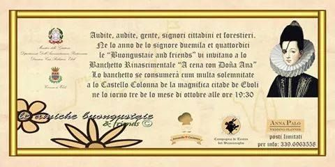 "Italia Medievale: ""A cena con Dona Ana de Mendoza"" a Eboli (SA)"