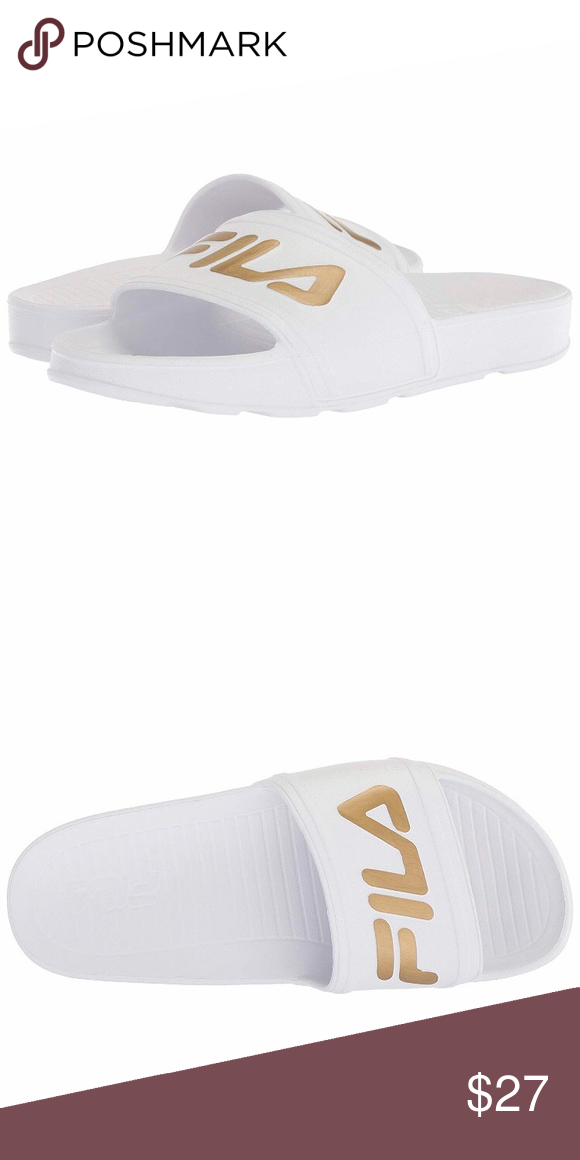 FILA Slides White with Gold Logo