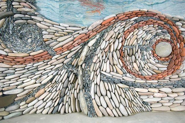 steinwand moderne kunst wandgestaltung ideen kieselsteine, Wohnzimmer dekoo