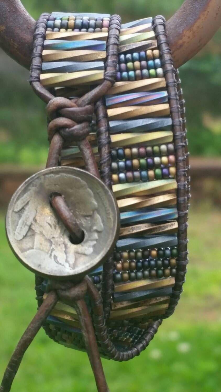 Heavy Metal leather double wrap bracelet/buffalo head nickel/matte czech twisted glass bugle beads/iridescent metal/offthebeadinpathneosho