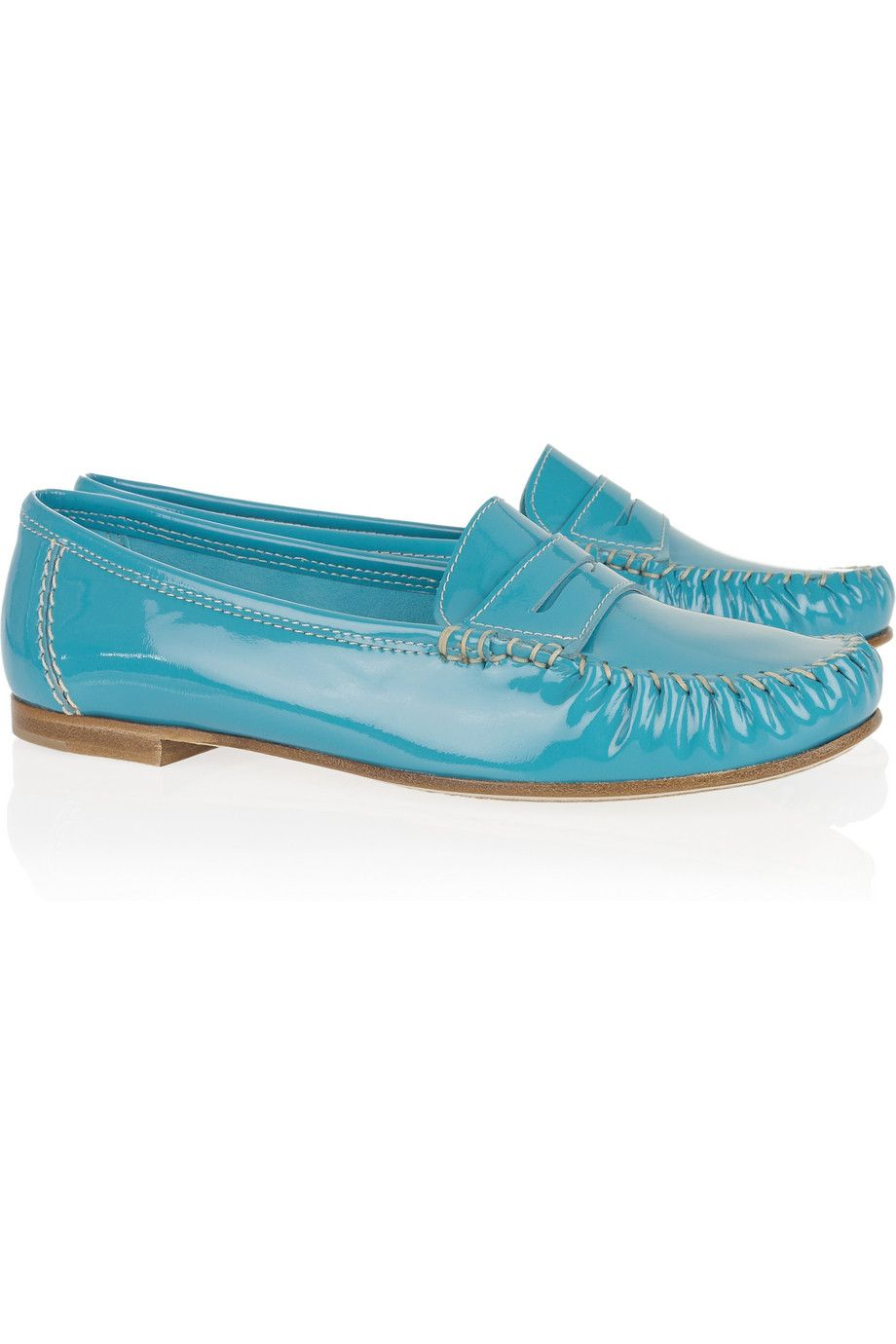 A beautiful colour and a comfortable style. Sigh. Brian Atwood Hampton patent-leather penny loafers at THE OUTNET