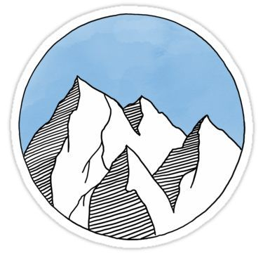 'Blue Mountain Circle' Sticker by Moxie Graphics