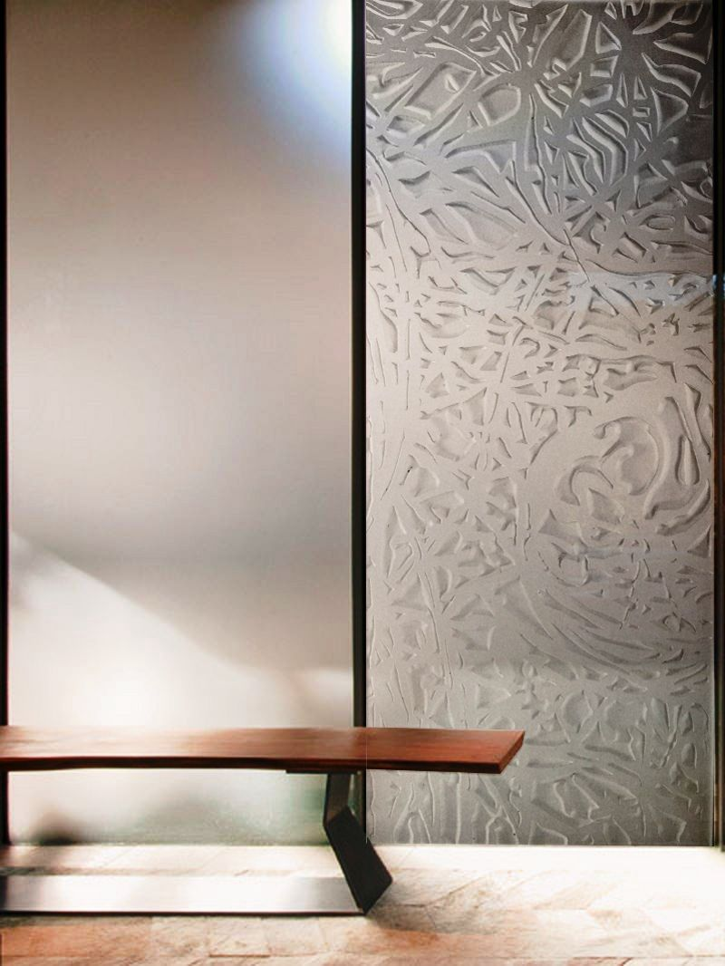 Glass etching designs for partition