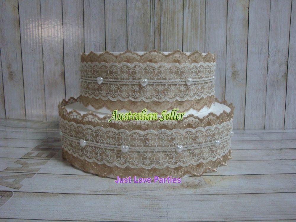 Rustic Lace With Pearl Heart Wedding Cake Tin Jar Wrap Band   Coffee U0026 Cream