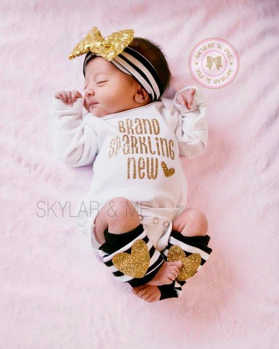 ef7a2722e6 Baby Girl Clothes Brand Sparkling New Bodysuit Shirt Glitter Shirt Glitter  Shirt Baby Shower Gift Bo