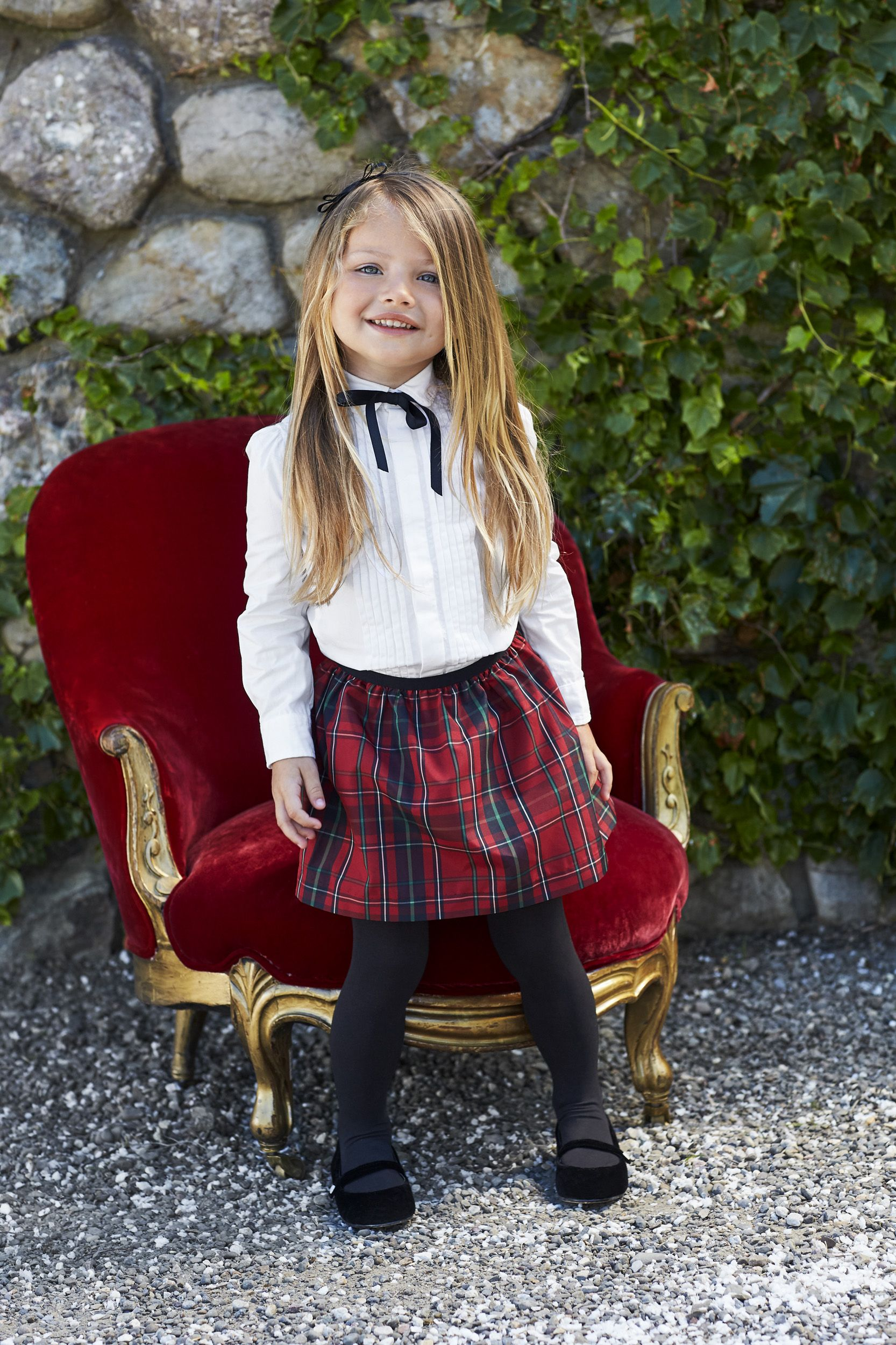 Polo Holiday Kids Plaid Tafetta Pull On Skirt Skirts For