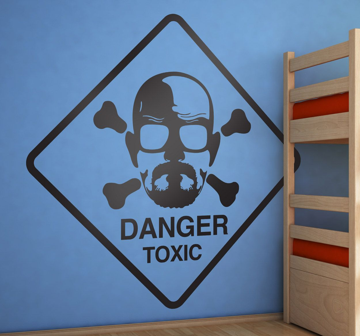 A toxic warning with the face of Heisenberg, star of the hit series breaking bad. #BreakingBad #Series #Stickers
