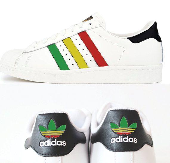 Custom Adidas Superstar, Rastafari, Mens and Womens rasta design, One love