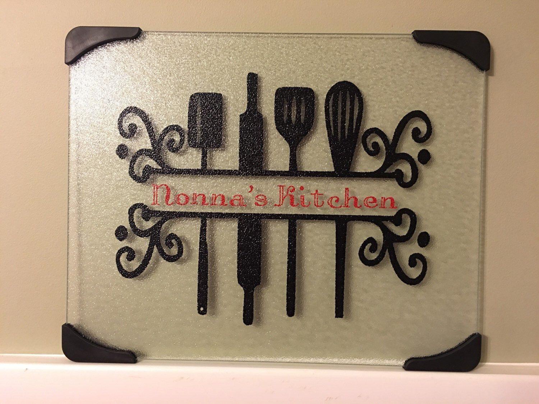 Nonna's kitchen glass cutting, Personalized gift, Nonna, Grandma ...