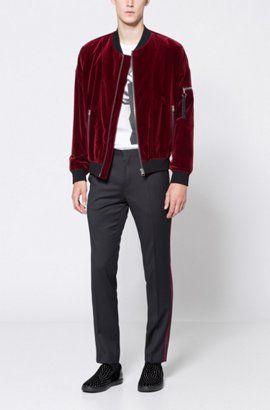 570143799 Velvet Bomber Jacket | Bitrel, Dark Red | Red bomber jacket in 2019 ...