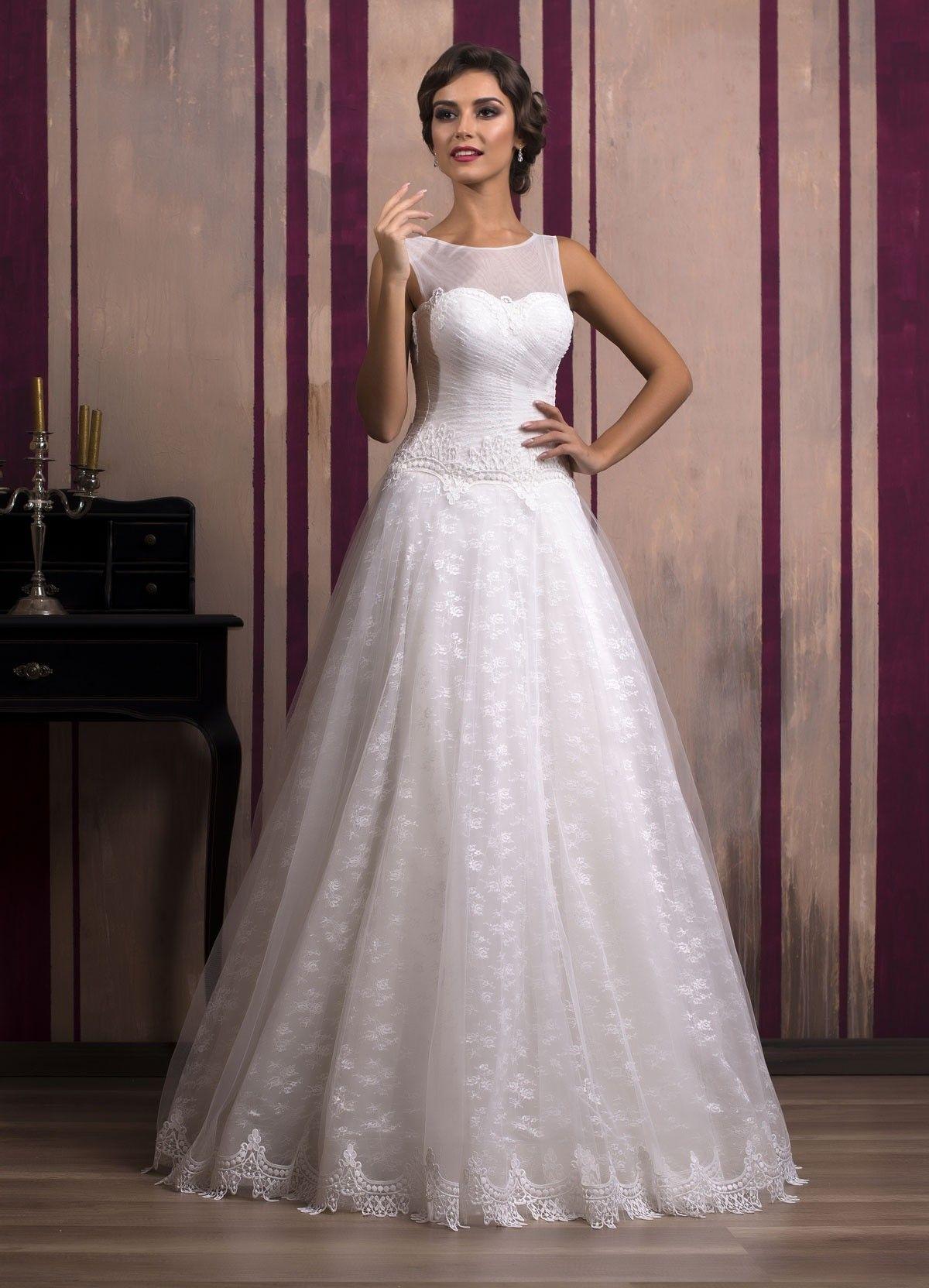 c98ca4bbf0a0 Svadobné šaty v štýle retro so širokou sukňou zdobenou čipkou ...