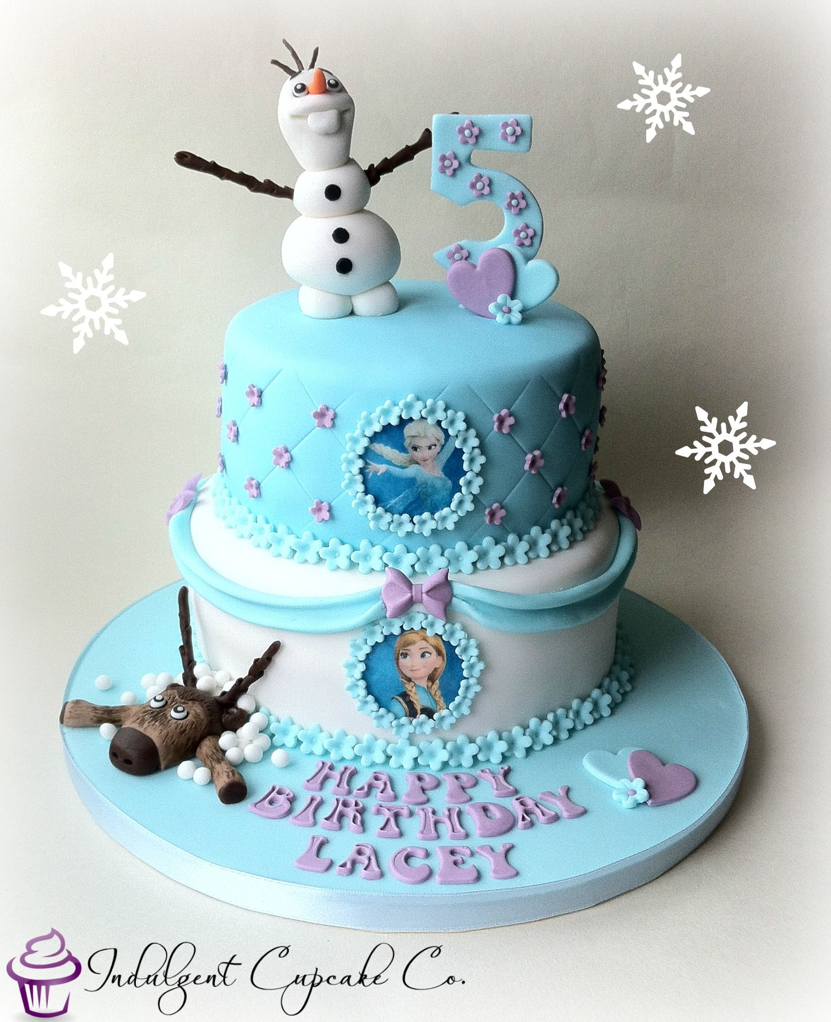 2 Tier Frozen Cake With Hand Made Decorations With