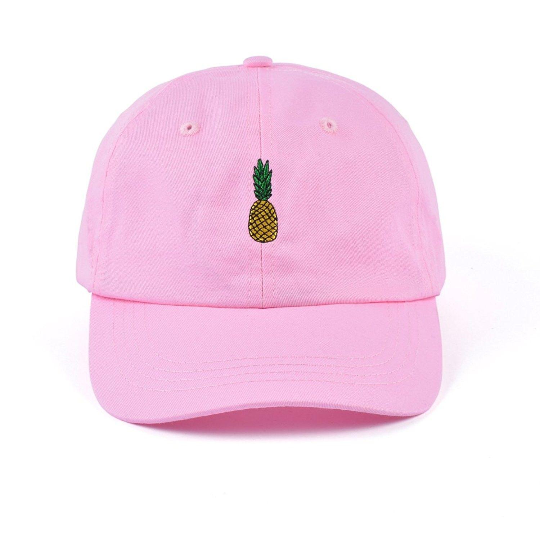 d990129dae6e9 Pineapple Embroidered Dad Hat Cotton Women Men Cute Adjustable Baseball Cap  - Medium Pink - CZ180RGUMIT