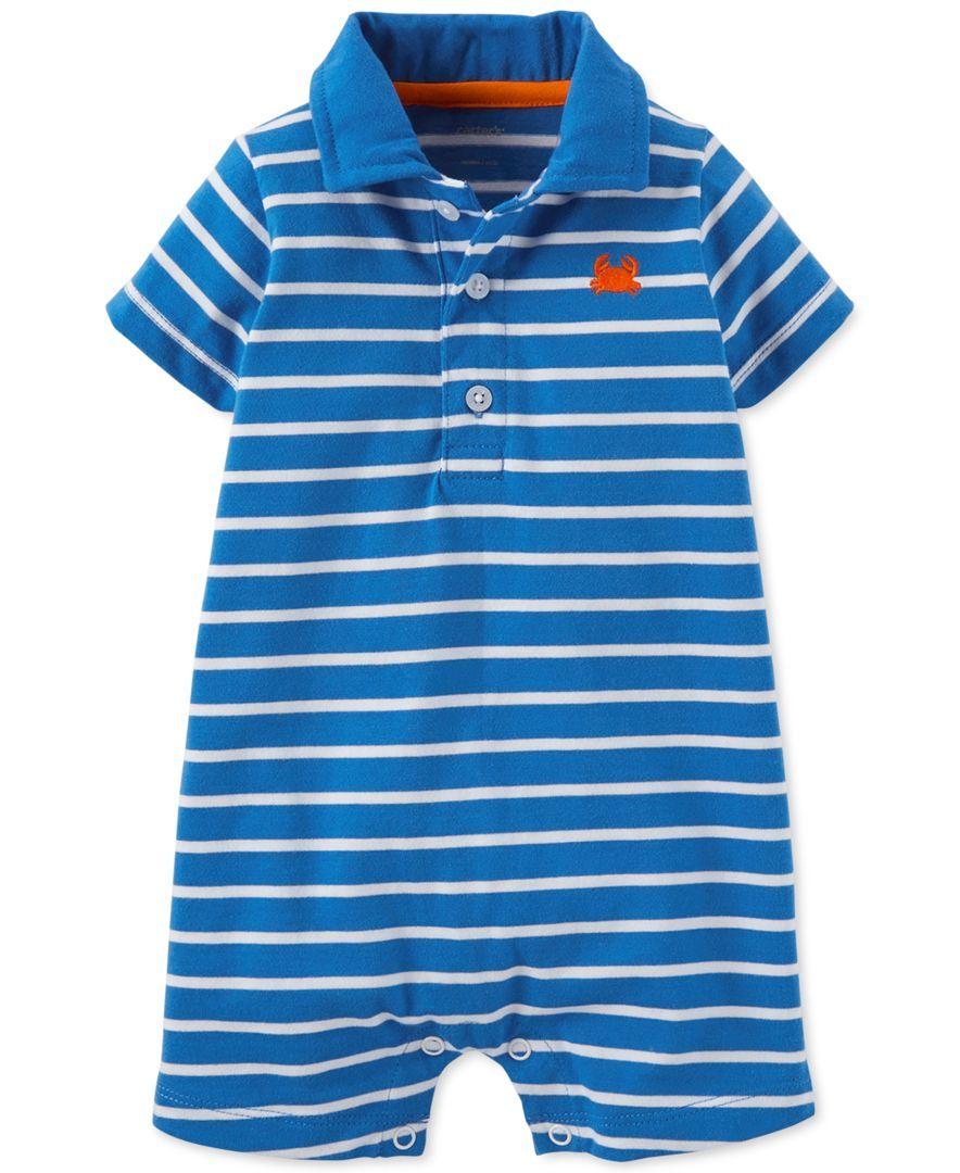 Green Newborn Size Carters Baby Boy Striped Polo Romper